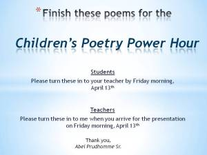 CHILDREN'S POETRY POWER HOUR - Poetry Assignments
